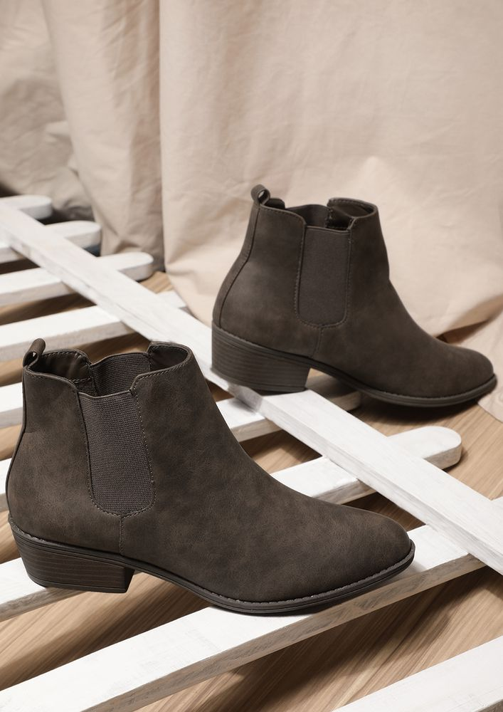 WALK BY ME BROWN CHELSEA BOOTS
