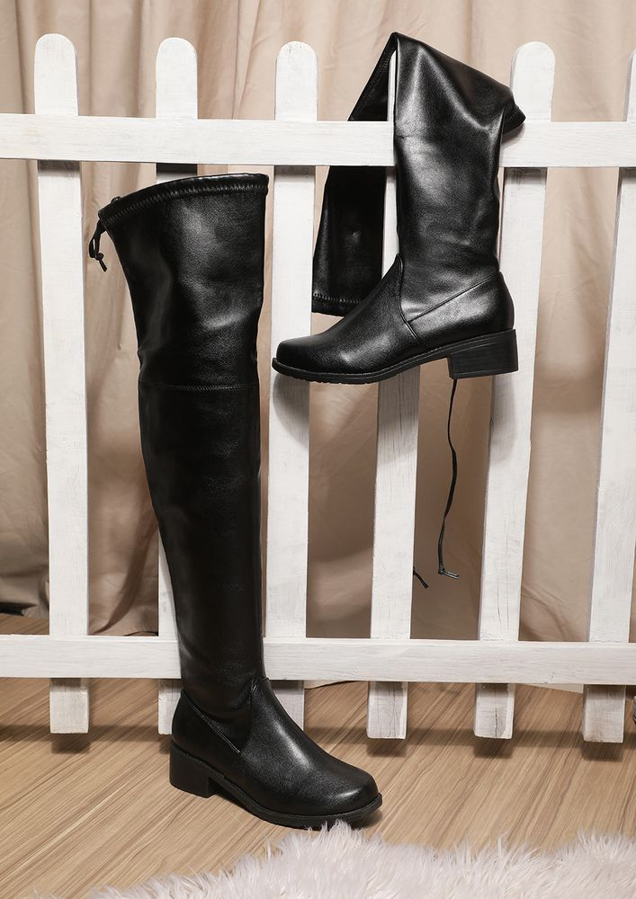 BRINGING MY A-GAME PATENT BLACK KNEE-HIGH BOOTS