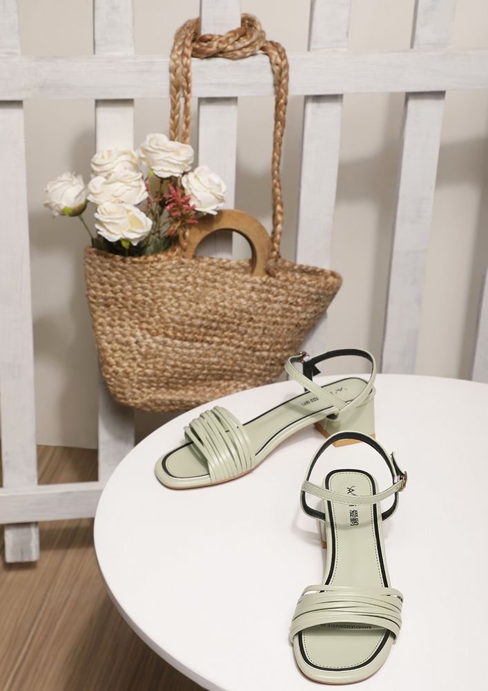 TRIPPING OVER STRAPPY PASTEL GREEN HEELED SANDALS