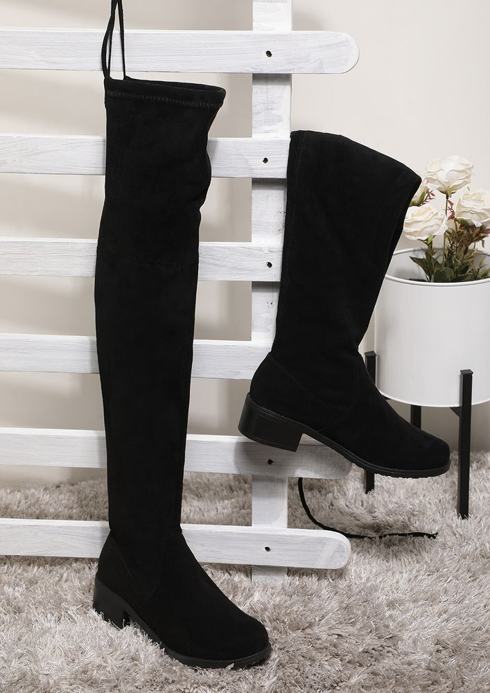 BRINGING MY A-GAME BLACK KNEE-HIGH BOOTS
