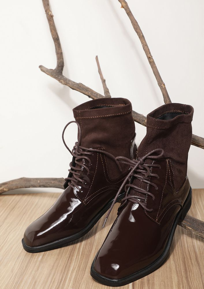 STEP OUT STAND OUT BROWN SMART BOOTS