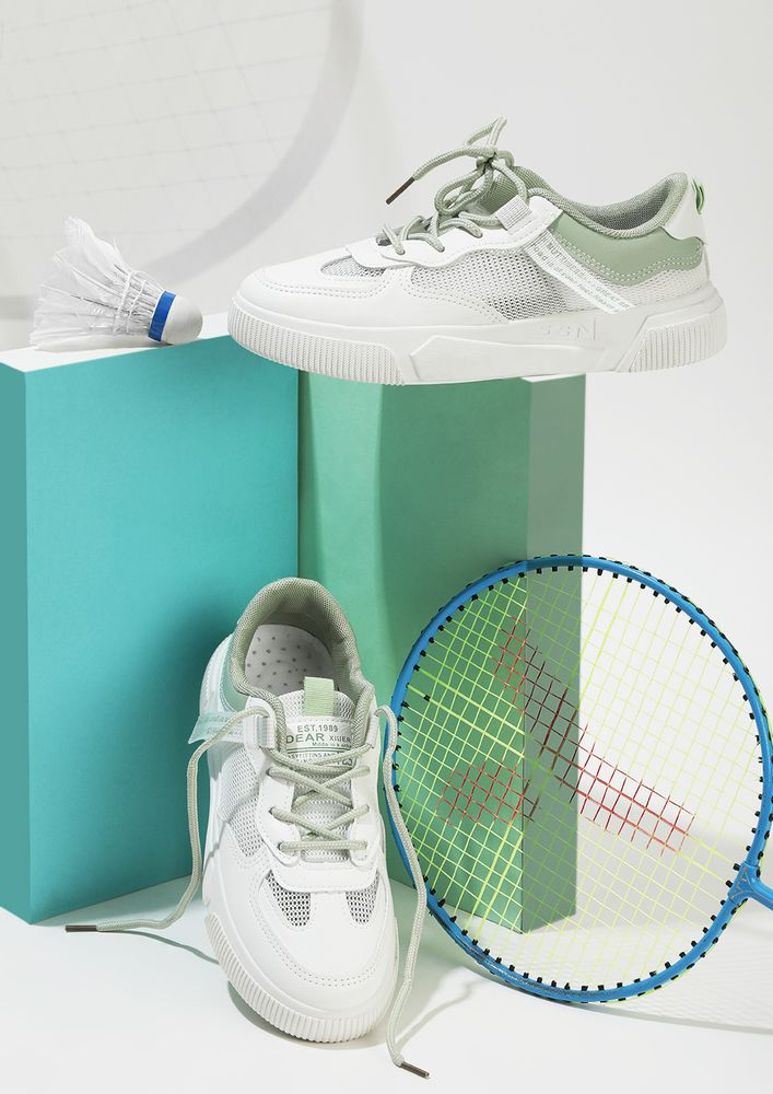 THE PRACTICAL MESH GREEN PANEL TRAINERS