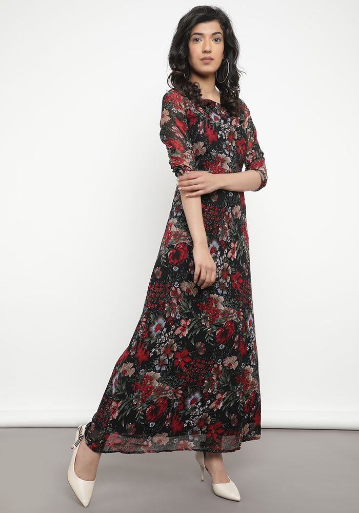 FLOWER MY PATH BLACK MAXI DRESS