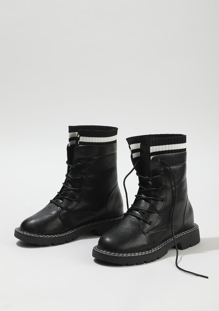 NOT HOLDING BACK BLACK COMBAT BOOTS