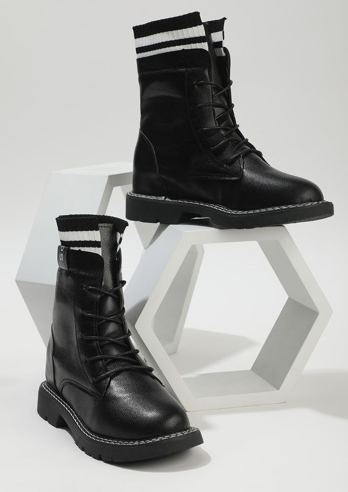 MARCHING AHEAD BLACK COMBAT BOOTS