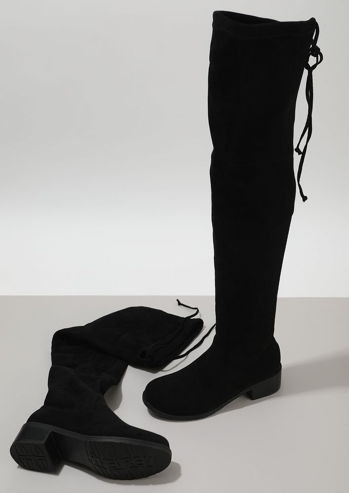 UP & ABOVE BLACK OVER THE KNEE-HIGHS