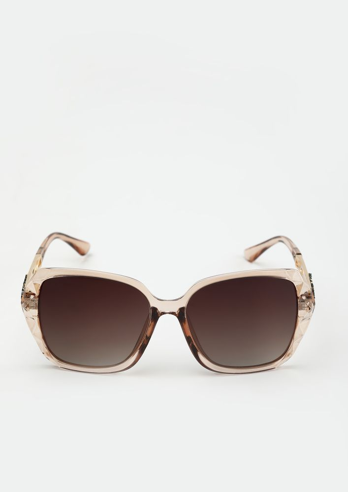 THE SMART SQUARE TEA BROWN SUNGLASSES