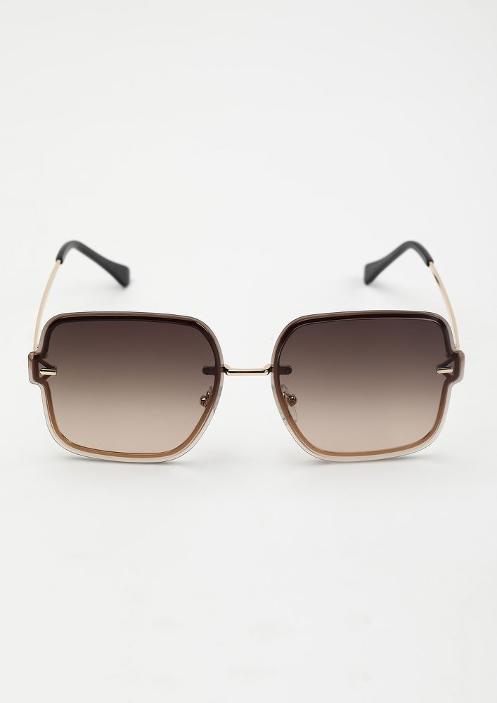 MODERN VINTAGE TEA BROWN SQUARE SUNGLASSES