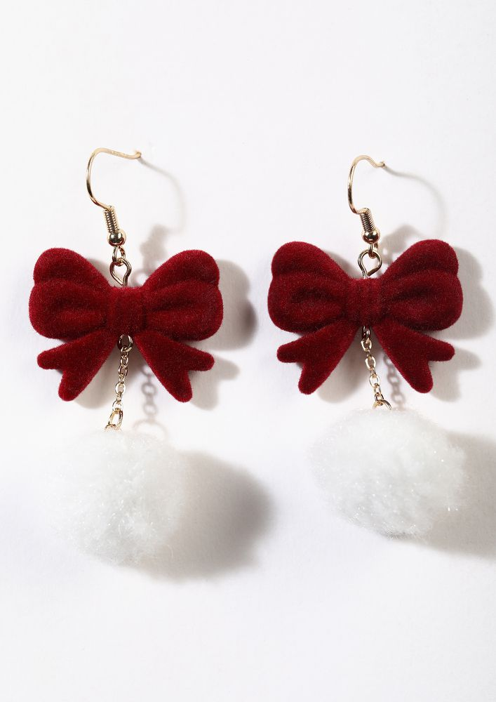 BOWS AND COTTON BALLS RED DROP EARRINGS