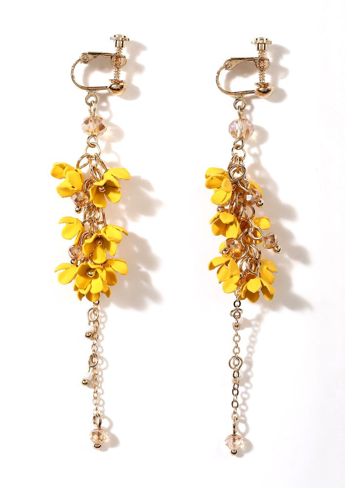 SPRINGTIME BLOOMS YELLOW DROP CHAIN EARRINGS