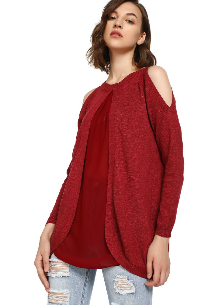 WINTER SUNSET MAROON RIBBED TOP