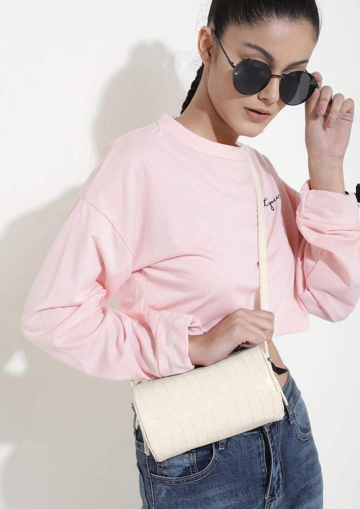 TIME TO CROC IT UP IVORY BUCKET BAG