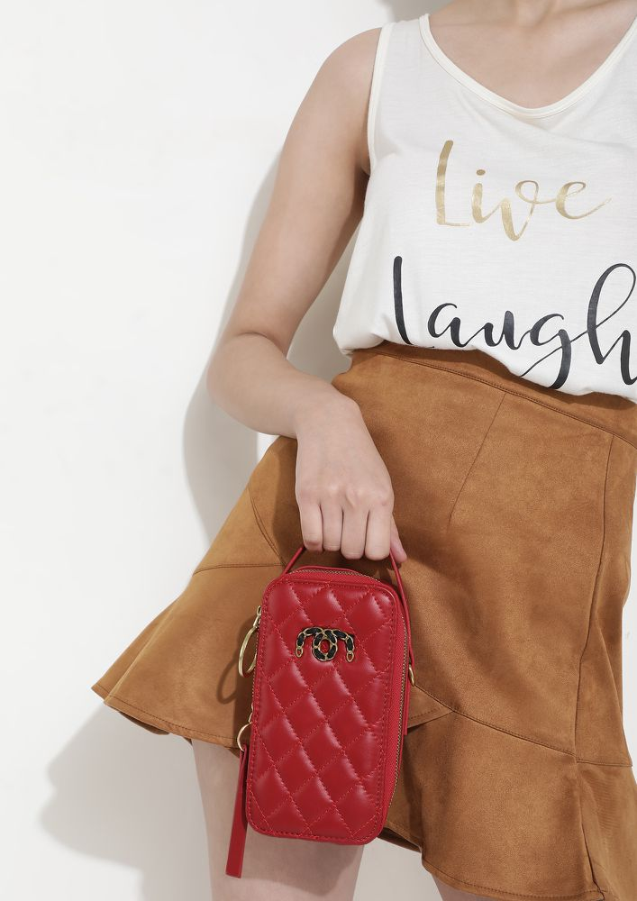 CAN'T TAKE MY EYES OFF RED SLING BAG