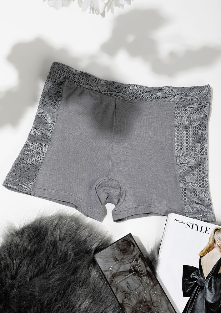 GREY BOYSHORTS WITH LACE TRIMMING