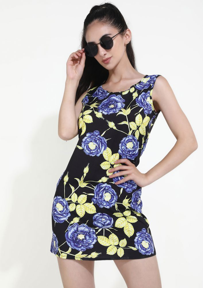 MY CAREFREE BUDS BLACK FLORAL TUNIC DRESS