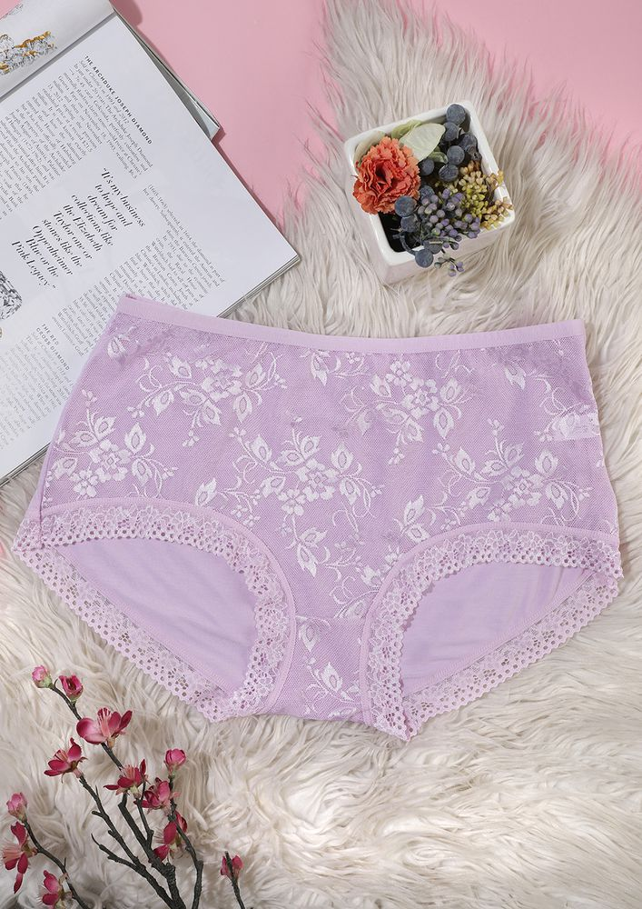 BABY PINK HIGH-WAIST HIPSTERS WITH LACE TRIMMING
