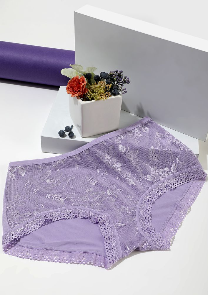 LAVENDER HIGH-WAIST HIPSTERS WITH LACE TRIMMING