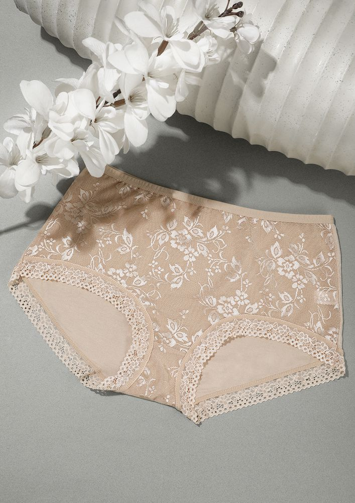 SKIN HIGH-WAIST HIPSTERS WITH LACE TRIMMING