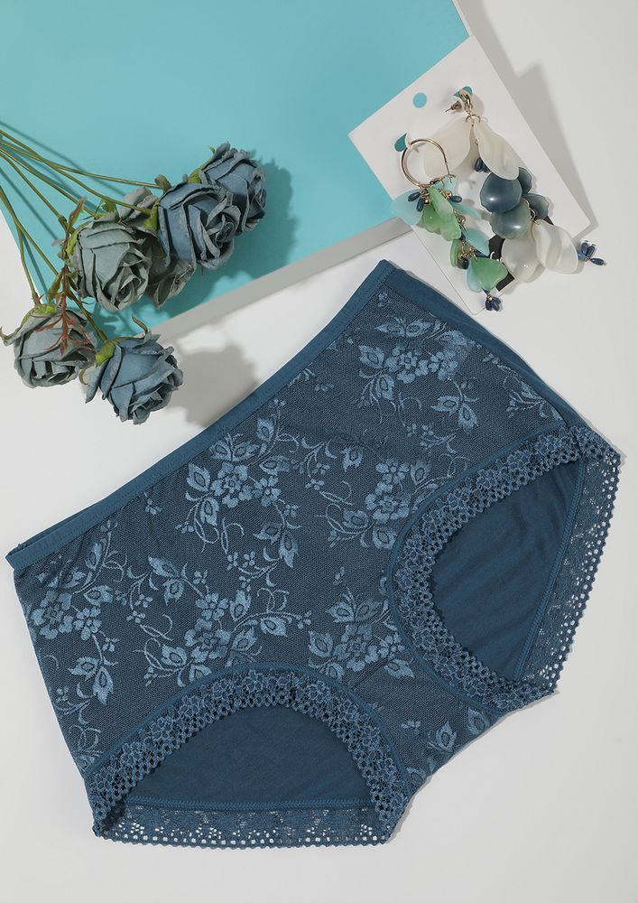 BOTTLE GREEN HIGH-WAIST HIPSTERS WITH LACE TRIMMING