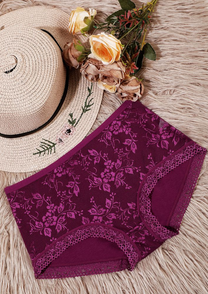 MAGENTA HIGH-WAIST HIPSTERS WITH LACE TRIMMING