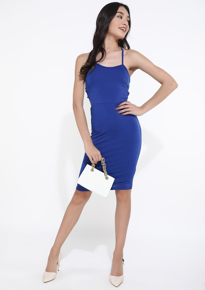 THE STRAPPY AFFAIR ELECTRIC BLUE PENCIL DRESS