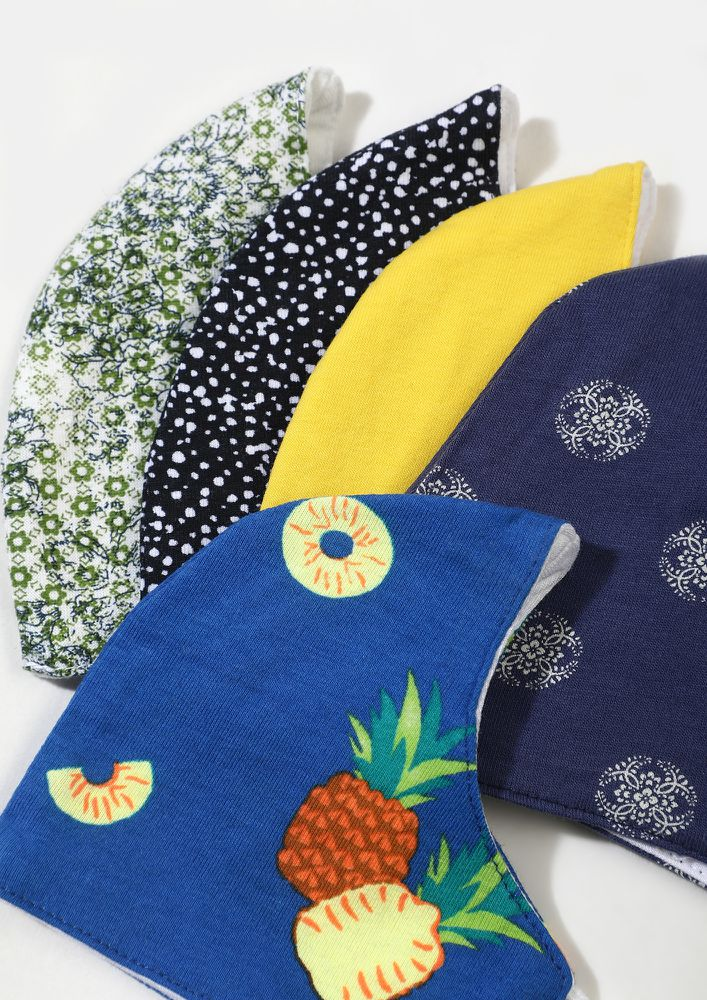 BRIGHT, DOTS, FLORAL AND PRINTS SET OF 5 FACE MASKS