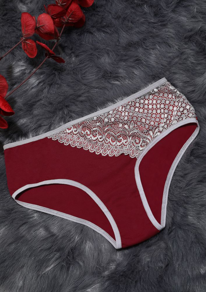 RED LACE HIPSTER WITH OUTER ELASTIC