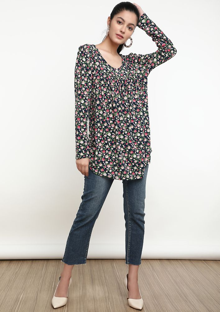 ON A FLOWER TRIP NAVY TUNIC TOP