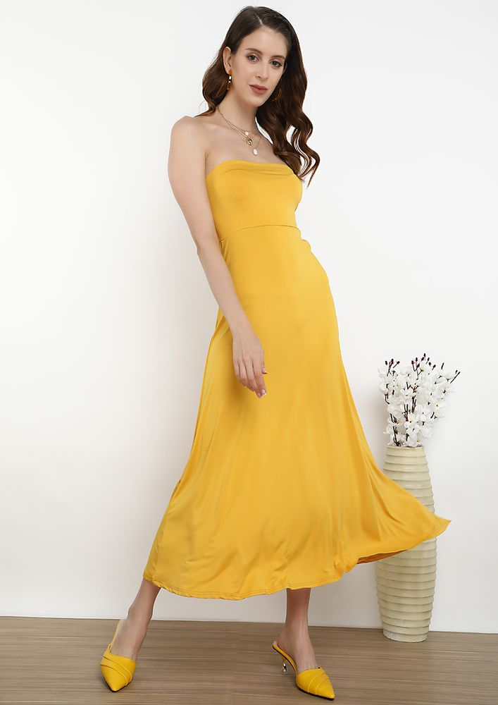 BLOSSOM FOR YOUR OWN JOY BODYCON DRESS IN YELLOW