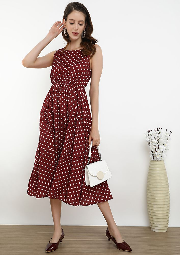 CONNECTING THE DOTS RED MIDI DRESS