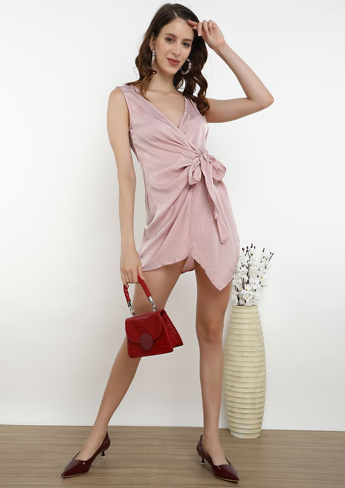 SPRING IS COMING IN SHEEN PINK SPAGHETTI DRESS