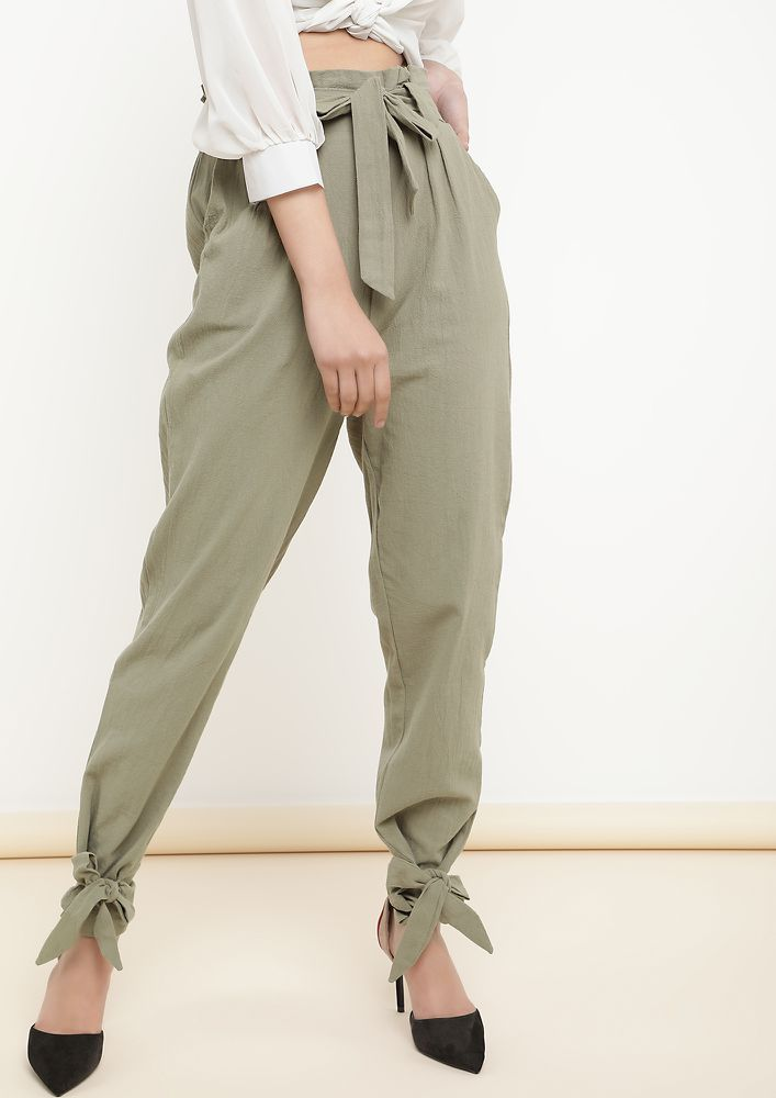 BREAKING BARRIERS KHAKI CARROT FIT TROUSERS