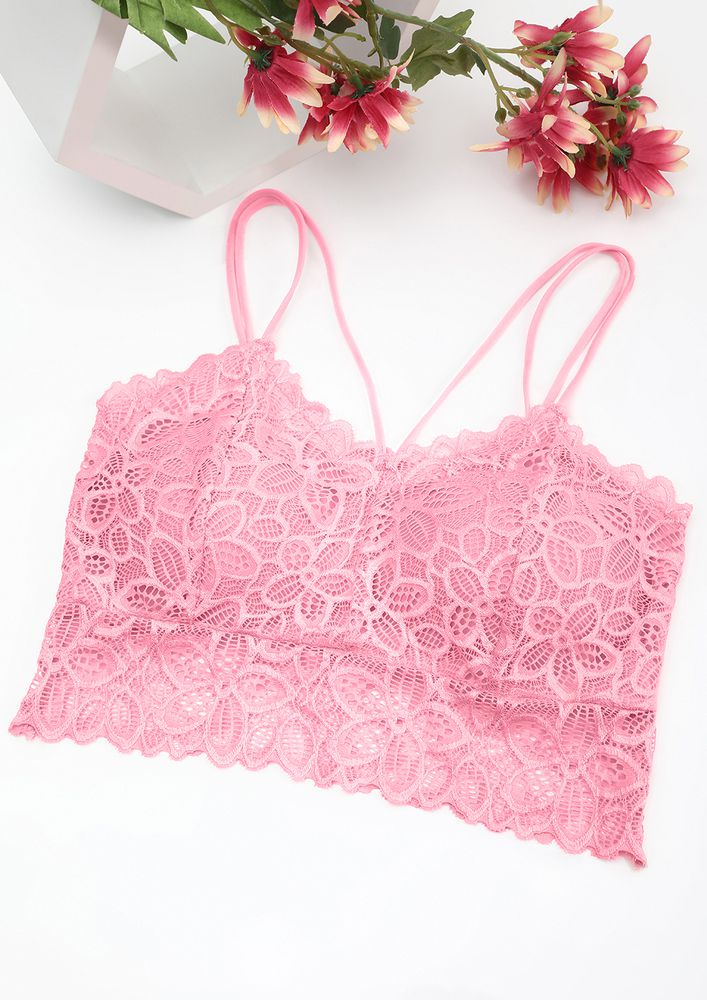 MULTIPLE STRAPS BABY PINK LACE BRALETTE