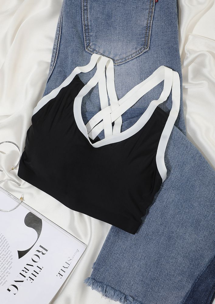 Black & White DOUBLE CROSS BACK BRALETTE