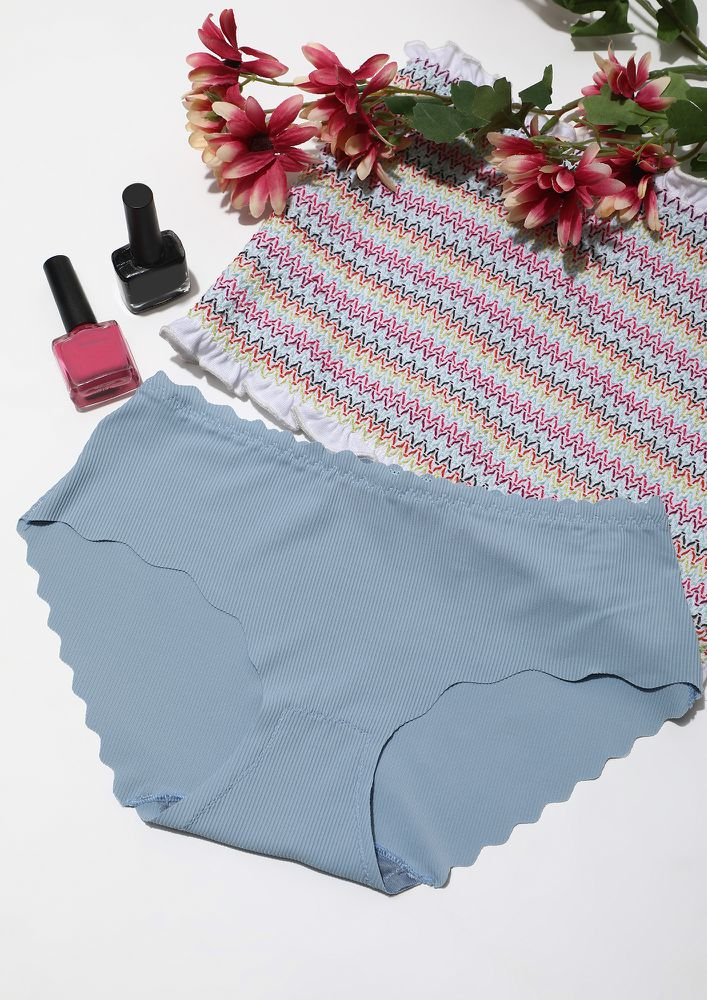 SCALLOPED BLUE SEAMLESS HIPSTER BRIEF