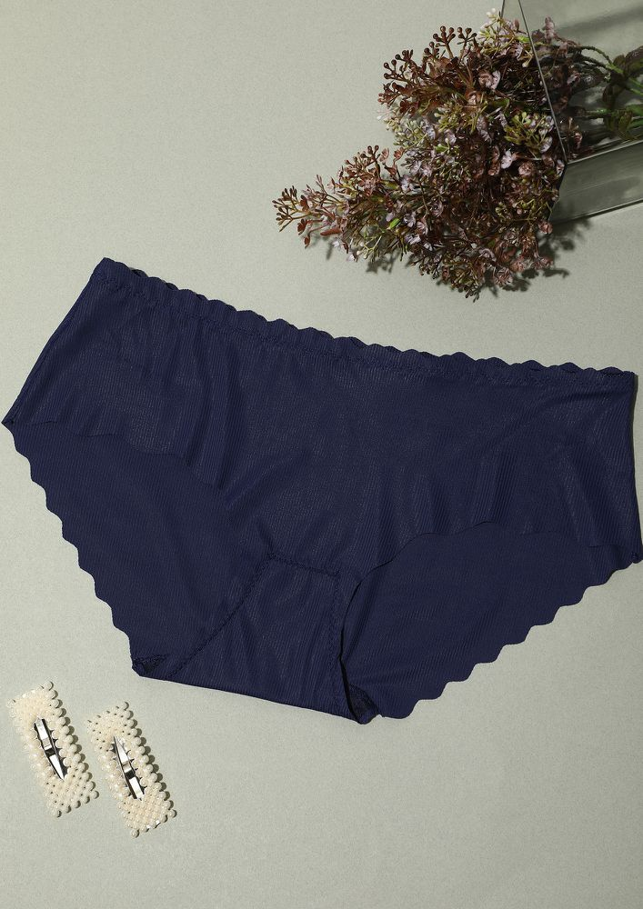 SCALLOPED NAVY BLUE SEAMLESS HIPSTER BRIEF
