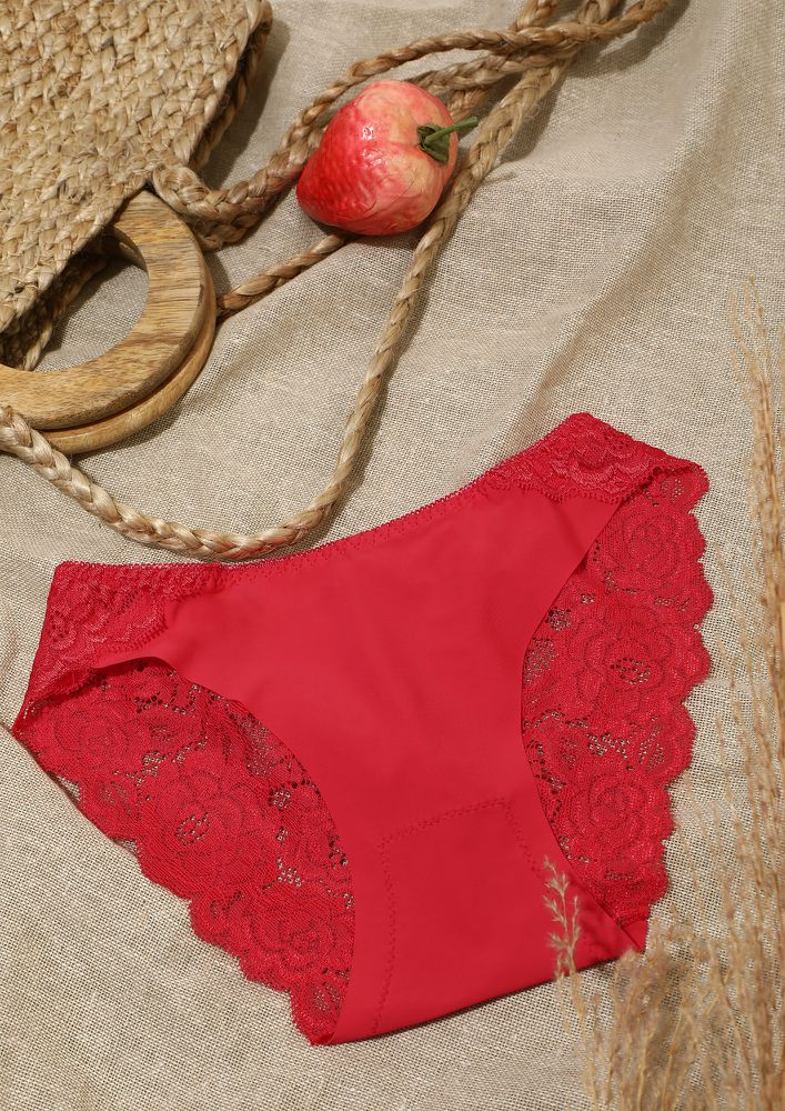 RED TULLE MID-WAIST HIPSTER BRIEFS