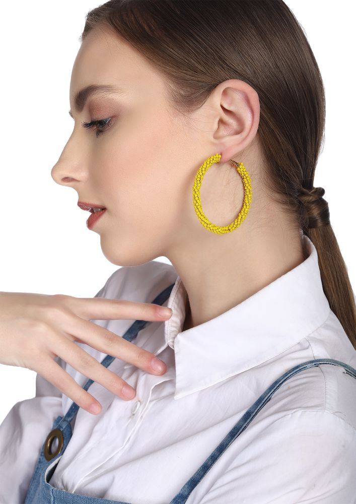 GOSS BABE HOOP DREAMS YELLOW EARRINGS