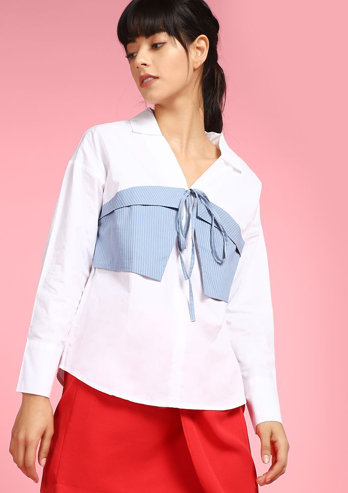 TIE UP WHITE SHIRT WITH BLUE BELT DETAIL