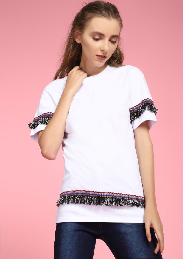 White Tassel Trim T-shirt