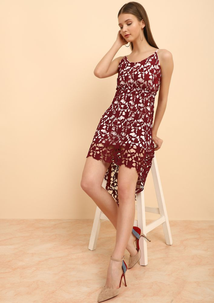 WINE LACE OVERLAY DRESS