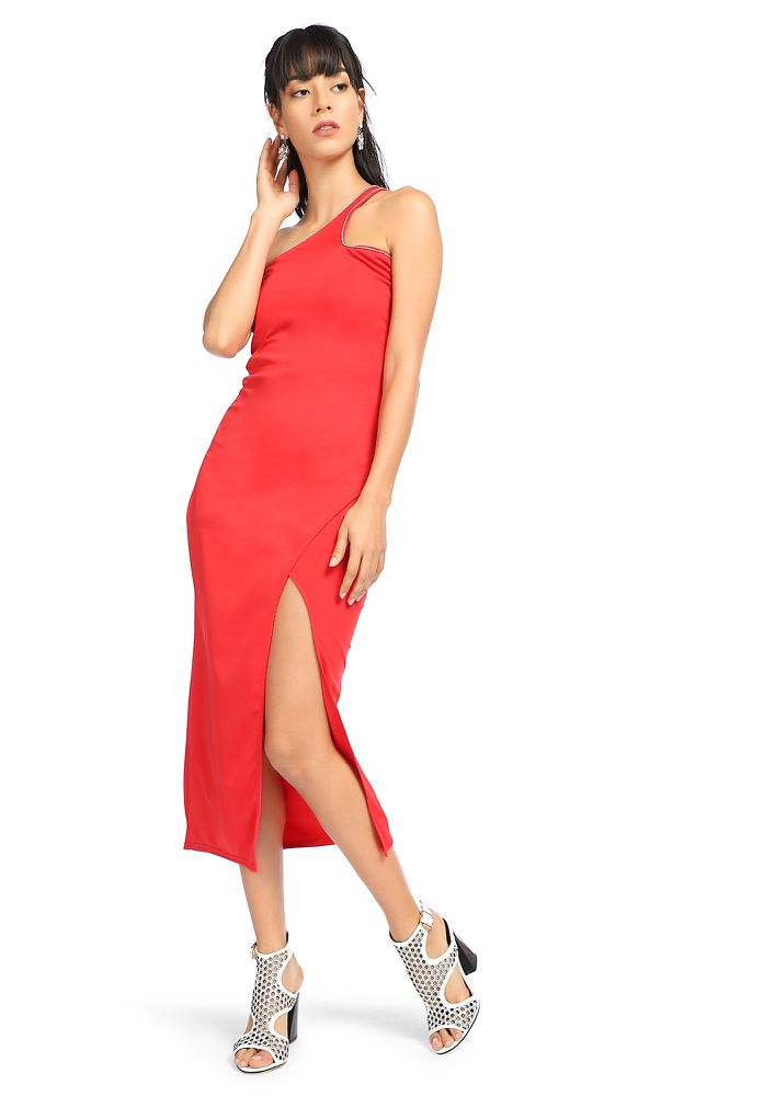 RED SLIT THROUGH DRESS