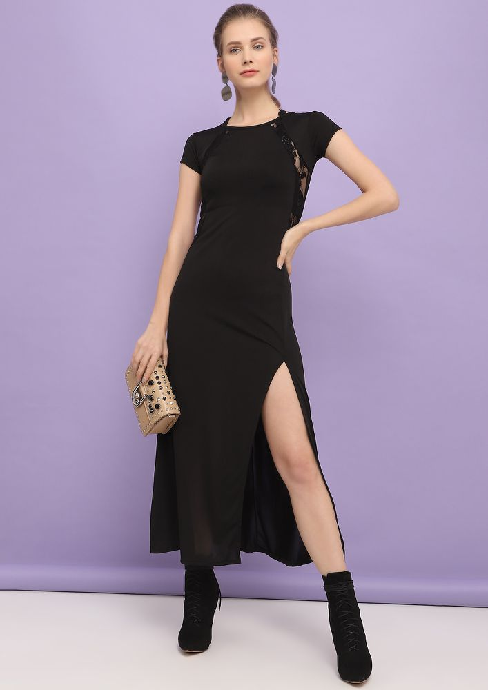 LETS SPLIT UP BLACK MIDI DRESS