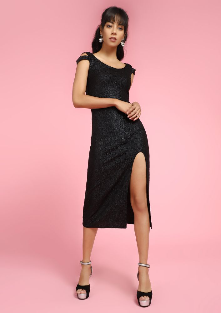 SUPERWOMAN BLACK MIDI DRESS