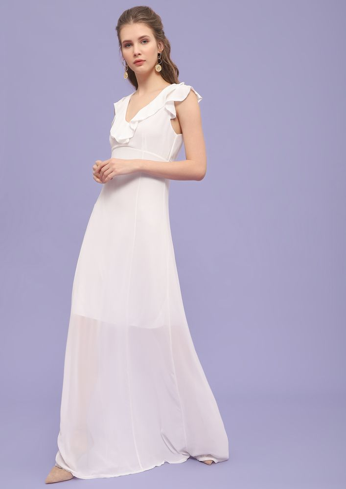 Take Me To The Ball  White Maxi Dress