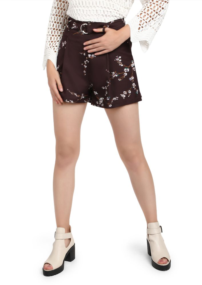 Floral And Flair Brown Shorts