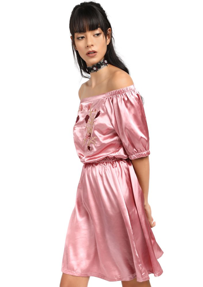 ROSE EMBROIDERED PINK SATIN DRESS
