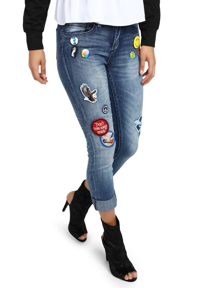 BLUE FADED PATCHWORK DENIMS