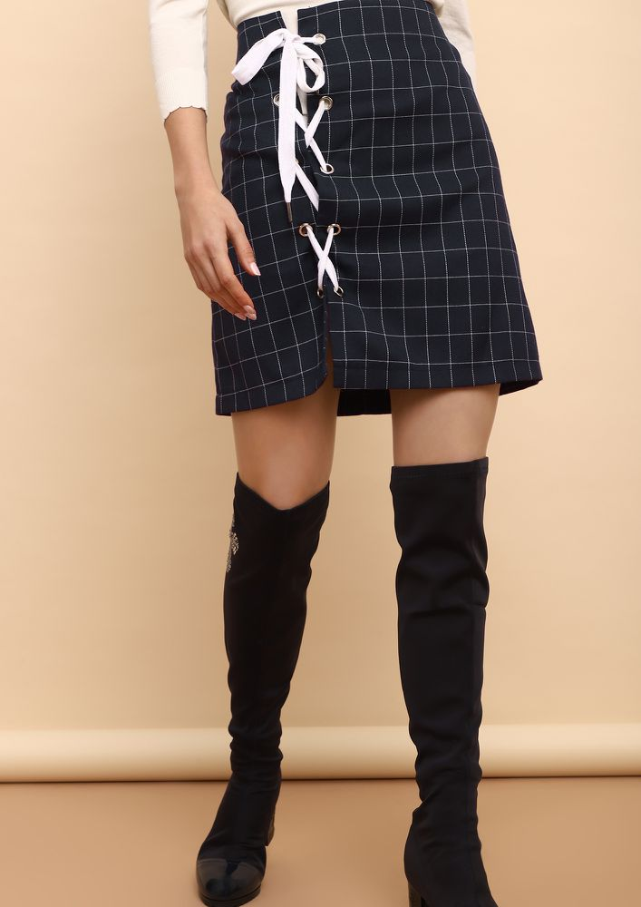 CHECK IT OUT TIE UP NAVY SKIRT