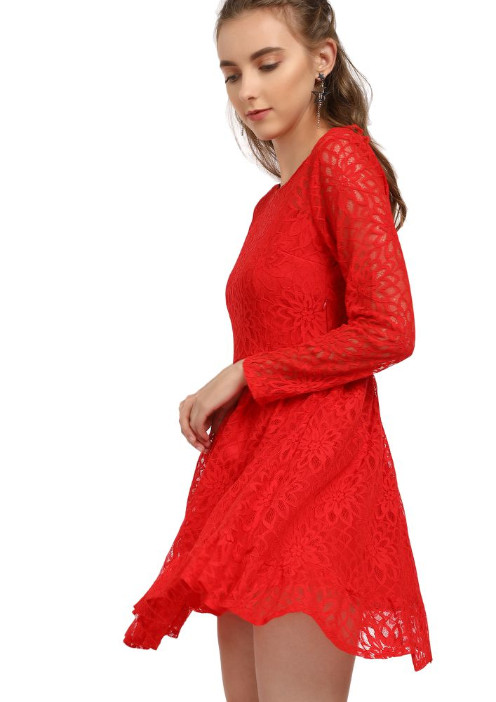 LACE IT UP HOT RED DRESS